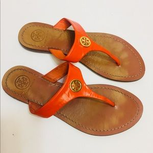 Tory Burch Orange Flip Flop Shoes. Size 5 1/2